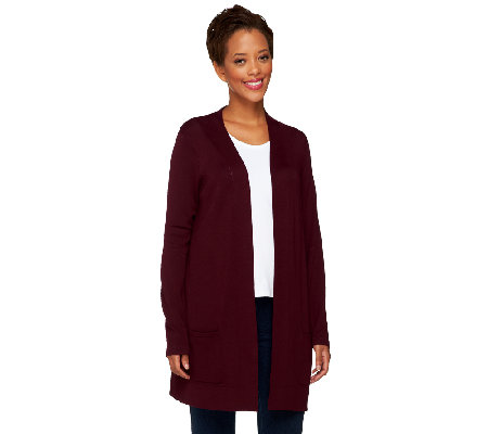 Susan Graver Rayon/Nylon Long Sleeve Cardigan with Front Pockets