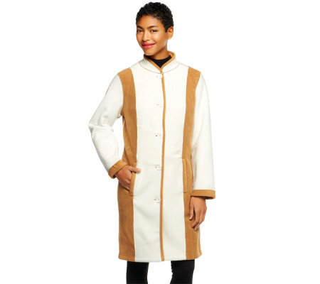 Susan Graver Bonded Fleece Button Front Colorblock Coat