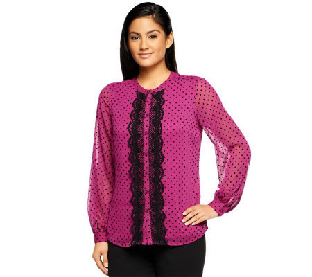 Isaac Mizrahi Live! Swiss Dot Long Sleeve Lace Trim Top