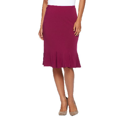 """As Is"" Susan Graver Solid Liquid Knit Skirt w/ Godets"