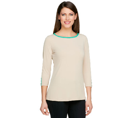 Susan Graver Liquid Knit Bateau Neck Top with Contrast Trim