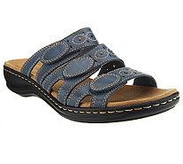 Clarks Leather Triple Strap Slides - Leisa Cacti - A251816