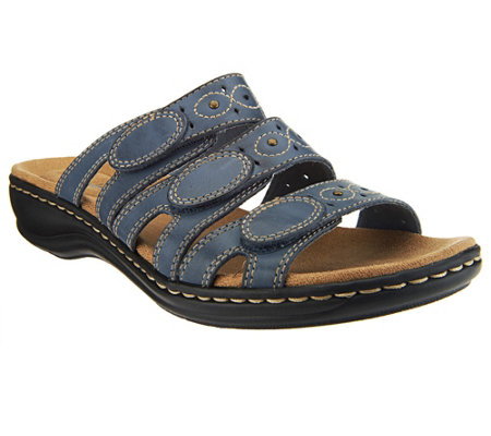 Clarks Leather Triple Strap Slides  Leisa Cacti