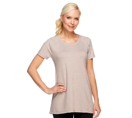 LOGO Lounge by Lori Goldstein Raglan Sleeve Top with Godet