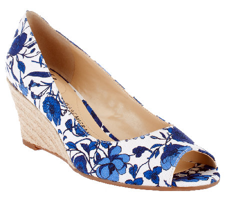 Isaac Mizrahi Live! Floral Printed Peep Toe Canvas Wedges