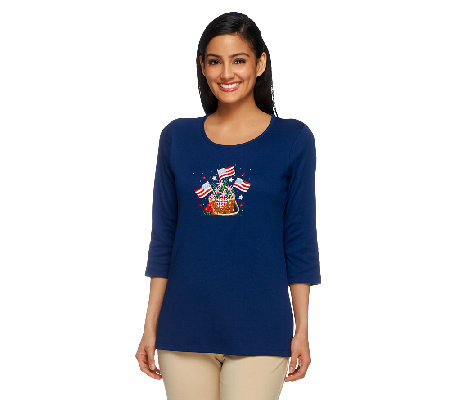 Quacker Factory Summertime Embroidered 3/4 Sleeve T-shirt