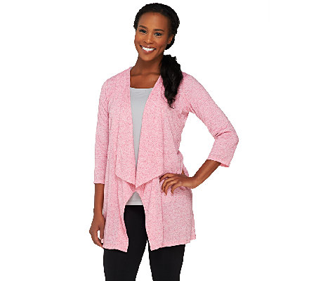 Lisa Rinna Collection 3/4 Sleeve Draped Cardigan
