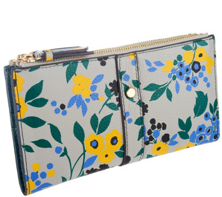Emma & Sophia Printed Leather Maggie Double Zip Wallet