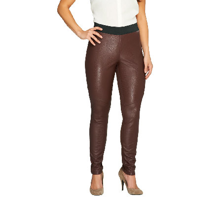 Lisa Rinna Collection Faux Leather and Ponte Knit Leggings