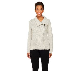 Isaac Mizrahi Live! 2-Ply Cashmere Motorcycle Sweater Jacket - A257916