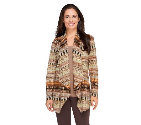 Susan Graver Printed Sweater Knit Open Front Long Sleeve Cardigan