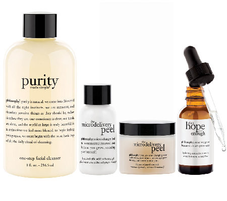 philosophy cleanse peel and treat skin care trio