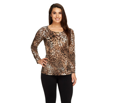 Susan Graver Printed Liquid Knit Scoop Neck Top with Metal Embellishment