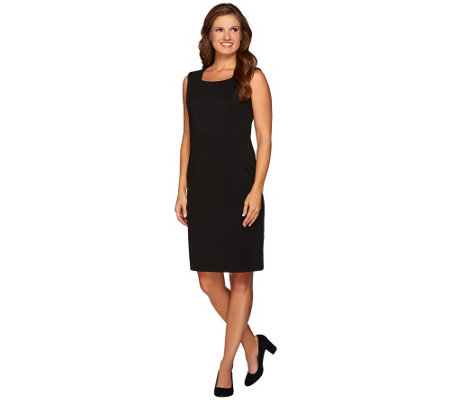 Joan Rivers Petite Length Ponte Knit Sheath Dress w/ Built-in Shaper
