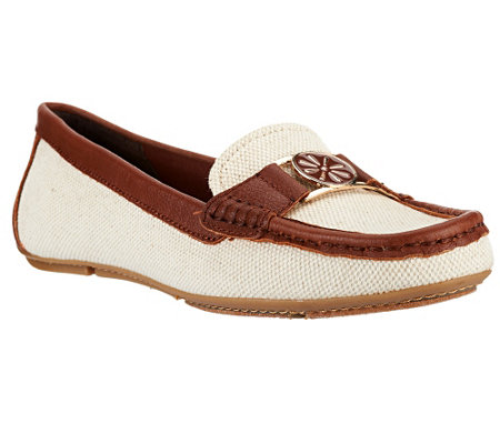 """As Is"" Isaac Mizrahi Live! Canvas Moccasins with Leather Trim"
