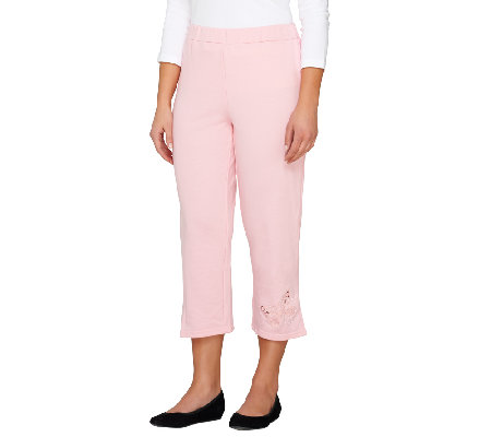 Quacker Factory Butterfly Cut-out French Terry Crop Pants