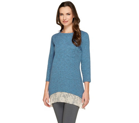 LOGO by Lori Goldstein 3/4 Sleeve Ribbed Knit Top with Lace Hem
