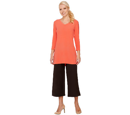 Women with Control Petite Gaucho and Jersey Knit Tunic Set