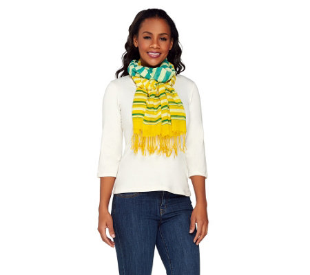 ED On Air Stripe Scarf with Fringe Design by Ellen DeGeneres