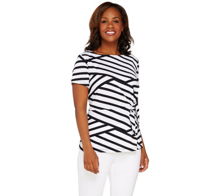 Susan Graver Striped Textured Knit Top with Tie Detail