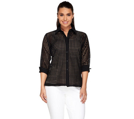 Linea by Louis Dell'Olio Eyelet Button Up Blouse