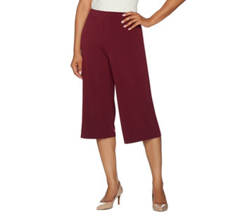 Susan Graver Liquid Knit Comfort Waist Pull-On Gaucho Pants - A266816