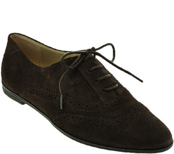 Isaac Mizrahi Live! Suede Oxfords with Pinhole Detail - A267316