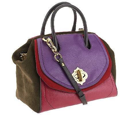"""As Is"" orYANY Mindy Suede & Diamond Leather Satchel"