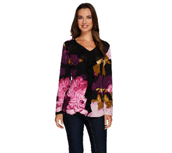 Susan Graver Printed Liquid Knit V-neck Top w/ Sheer Chiffon Ruffle - A269216