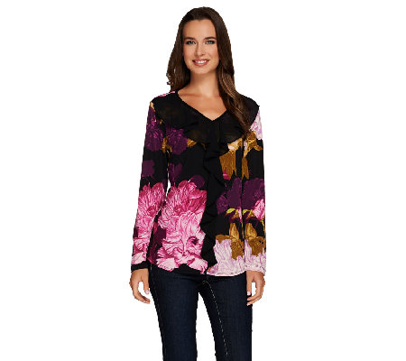 Susan Graver Printed Liquid Knit V-neck Top w/ Sheer Chiffon Ruffle