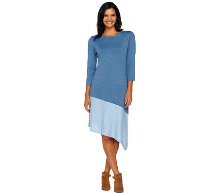 H by Halston Color-Block Asymmetrical Hem Sweater Dress