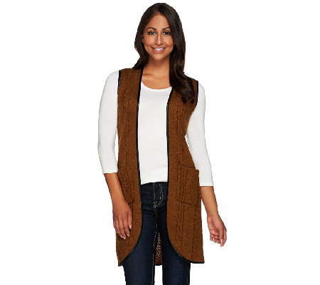 Attitudes by Renee Sweater Vest with Faux Leather Trim