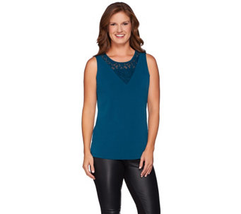 Susan Graver Liquid Knit Tank with Lace Inset - A270316