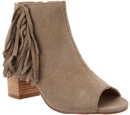 Kensie Suede Open-toe Booties with Side Fringe - Erika