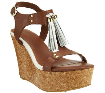 """As Is"" G.I.L.I. Leather T-strap Tassel Wedge Sandals - Kate - A270816"