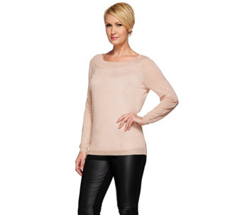 H by Halston Metallic Yarn V-Back Long Sleeve Sweater - A271116