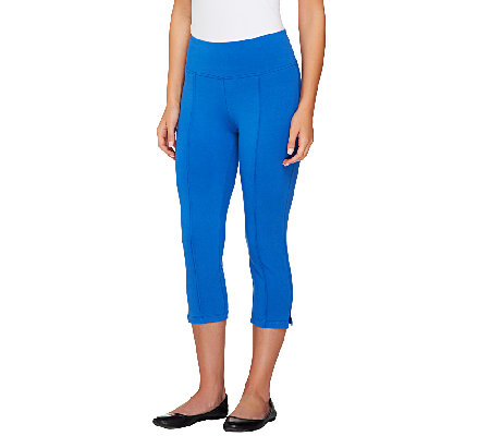 """As Is"" Denim & Co. Active Duo-Stretch Capri with Pintucks"