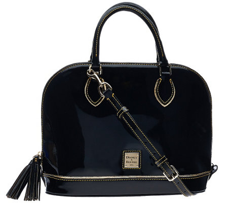 Dooney & Bourke Highland Holiday Patent Zip Zip Satchel