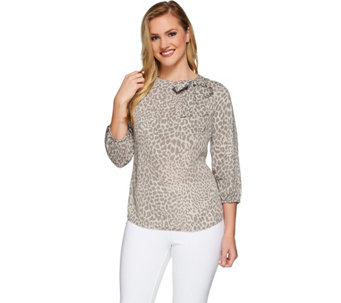 Liz Claiborne New York Printed Top with Neck Detail - A272816