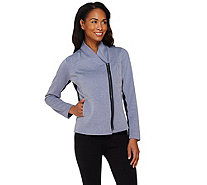 Lisa Rinna Collection Zip Front Jacket with Rib Panels - A273516