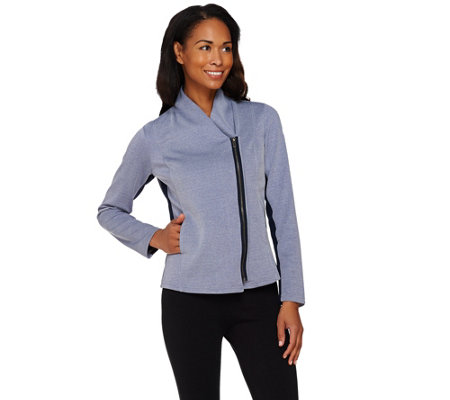 Lisa Rinna Collection Zip Front Jacket with Rib Panels