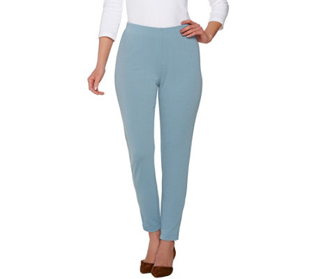 Susan Graver Passport Knit Comfort Waist Ankle Pants w/ Zipper Detail