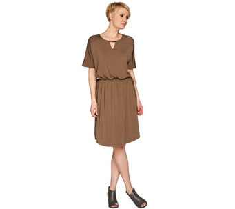 H by Halston Jet Set Jersey Knit Dress w/ Drawstrings - A275416