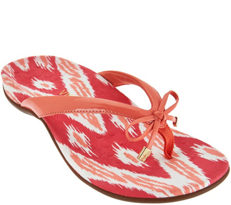 Vionic Orthotic Thong Sandals with Bow Detail - Bella Ikat
