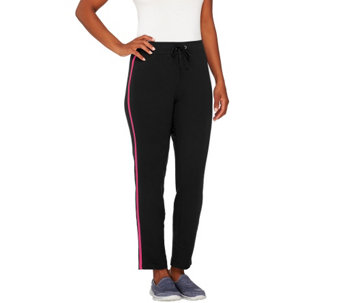 """As Is"" Denim & Co. Active Slim Leg Ankle Pant with Contrast Stripe - A276016"