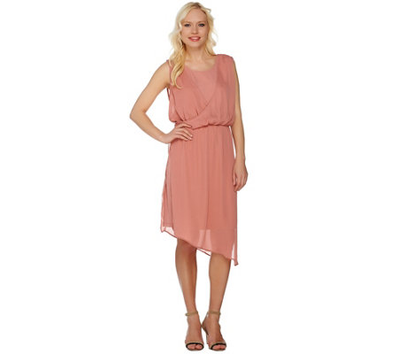 H by Halston Jet Set Jersey Dress with Draped Chiffon Overlay