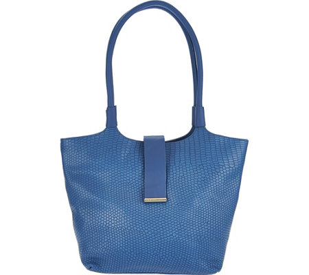 H by Halston Reptile Embosssed Matte Leather Tote Handbag