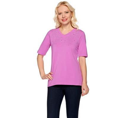 Quacker Factory Be Jeweled Elbow Sleeve High-Low T-shirt