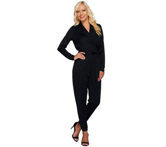 """As Is"" George Kotsiopoulos Long Sleeve Jumpsuit with Tie Waist - A276916"