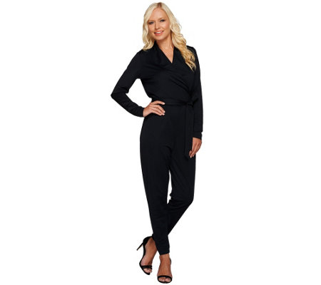 """As Is"" George Kotsiopoulos Long Sleeve Jumpsuit with Tie Waist"